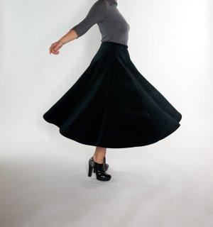 Falda midi negro Algodón
