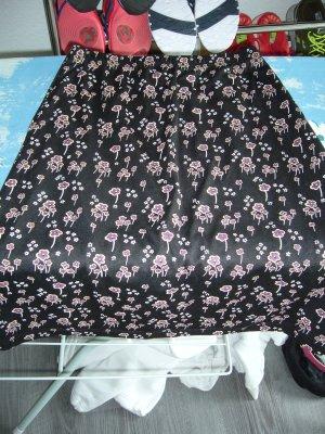 Midirock schwarz floraler Print weiß weinrot bordeauxrot XS 34
