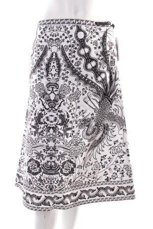 Midirock weiß-schwarz Ornamentenmuster Kordelverzierung