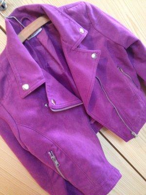 Miete mich für 8 € süße lila Kurz-Lederjacke Bikerjacke Wildleder :)