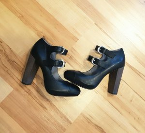 Miezko High Heels schwarz silber Schnalle grau echt Leder lila Sohle