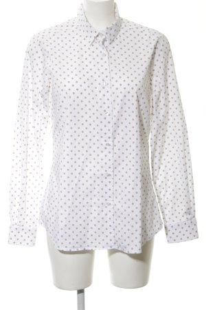 Milano Italy Langarmhemd weiß-bronzefarben Punktemuster Business-Look