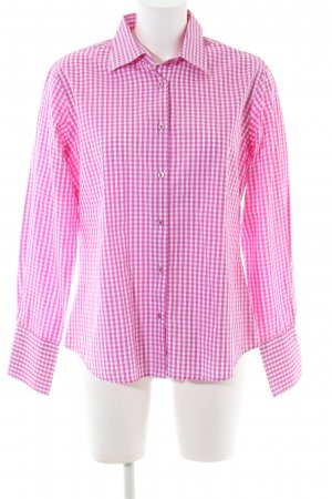 Milano Italy Langarmhemd pink-weiß Allover-Druck Business-Look