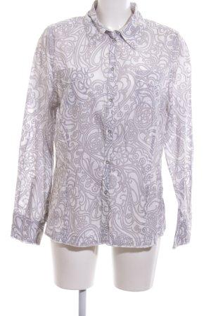 Milano Italy Langarmhemd weiß abstraktes Muster Casual-Look