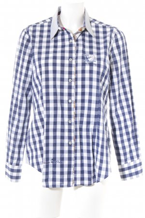 Milano Italy Langarmhemd dunkelblau-weiß Karomuster Casual-Look