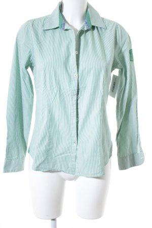 Milano Italy Langarmhemd grün-weiß Streifenmuster Casual-Look