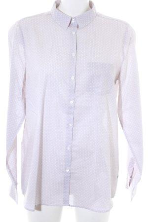 Milano Italy Langarmhemd weiß-hellbeige Punktemuster