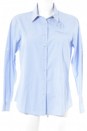 Milano Italy Langarmhemd weiß-himmelblau Karomuster Casual-Look