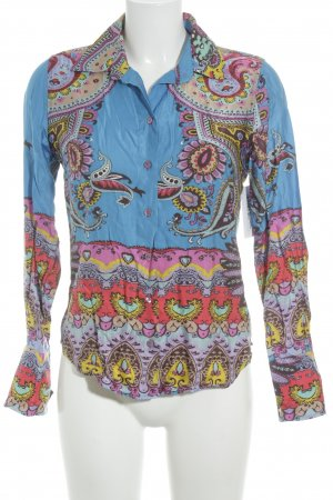 Milano Italy Seidenbluse abstraktes Muster Hippie-Look