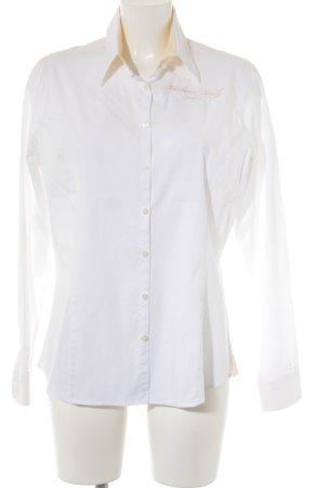 Milano Langarmhemd weiß-gelb Schriftzug gestickt Casual-Look