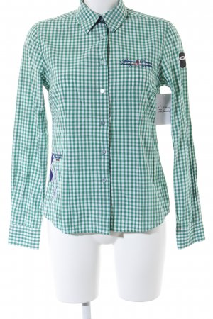 Milano Langarmhemd weiß-grün Karomuster Casual-Look