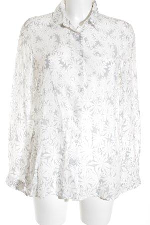 Milano Langarmhemd weiß-hellgrau florales Muster Casual-Look