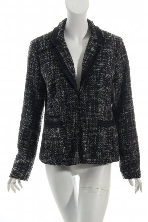 Milano Wool Blazer black-light grey weave pattern fluffy