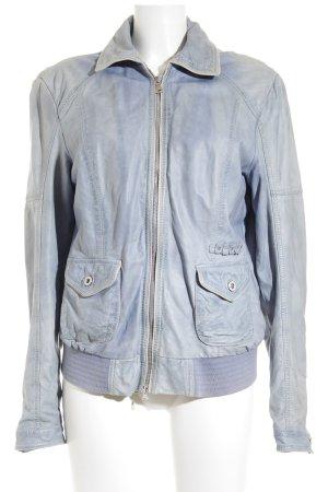 Milestone Lederjacke himmelblau Farbverlauf Street-Fashion-Look