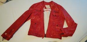 Milestone Lederjacke in Rot, Vintagestil Gr. 38