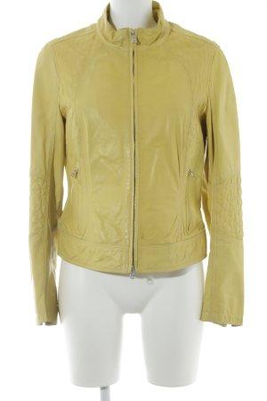 Milestone Giacca in pelle giallo lime stile casual