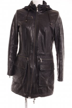 Milestone Lederjacke schwarz-dunkelblau Casual-Look
