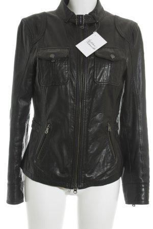 Milestone Lederjacke schwarz-silberfarben Biker-Look