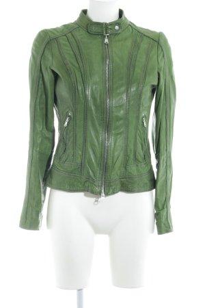 Milestone Leather Jacket forest green biker look