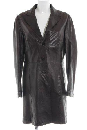 Milestone Abrigo de cuero negro elegante