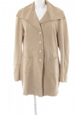 Milestone Leather Coat sand brown spot pattern simple style