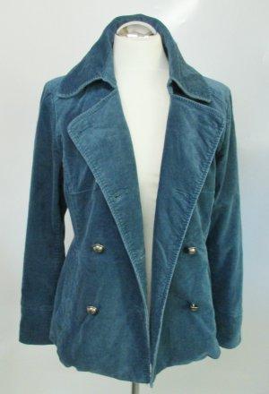 Militär Samt Jacke H&M Größe 42 Petrol Blau Grün Streifen Kurzjacke Blazer Stretch Baumwolle Military