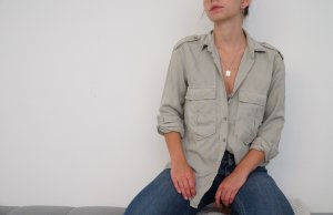 Zara Blouse-chemisier gris clair