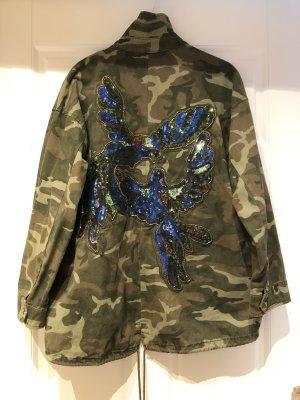 Military Jacke mit Pailletten von ZARA