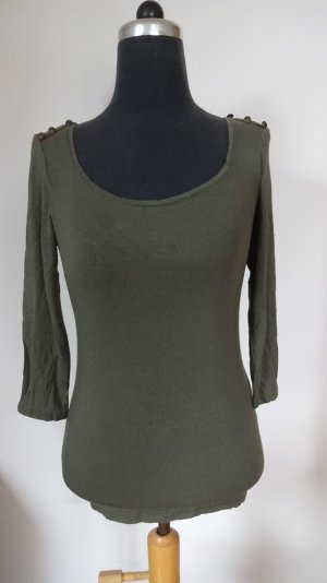 Military Style - Longarmshirt mit Messinknöpfen