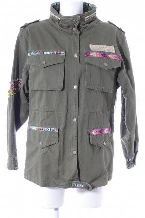 Military Jacket olive green mixed pattern military look