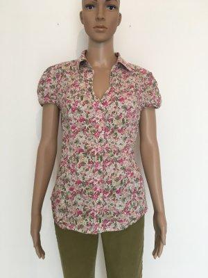 Mille Fleur geblümt Bluse v Ausschnitt grün rosa pink oliv braun beige Flügelärmel long