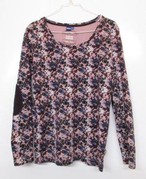 Millefleur Longsleeve Shirt Cecil Größe XL 42 Flieder Rosa Lila Blau Blumen Rundhals Ellenbogen Patches Rosen