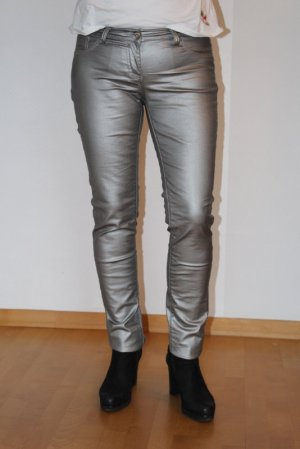 Drainpipe Trousers silver-colored mixture fibre