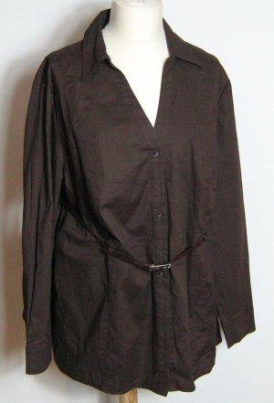 MIM Bluse Uni Braun Größe 54 Stretch Gürtel
