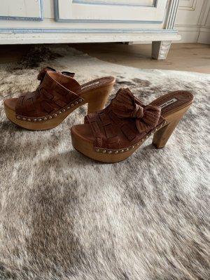 Miu Miu Heel Pantolettes cognac-coloured-brown
