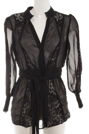 Mina UK Transparenz-Bluse schwarz Blumenmuster Paris-Look