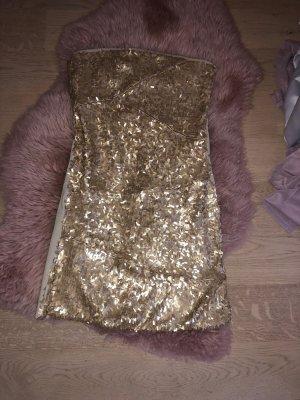 Mini Abend Kleid mit Pailletten in Gold