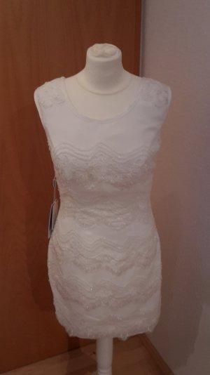 Mini Brautkleid Chiffon mit Perlen A Linie