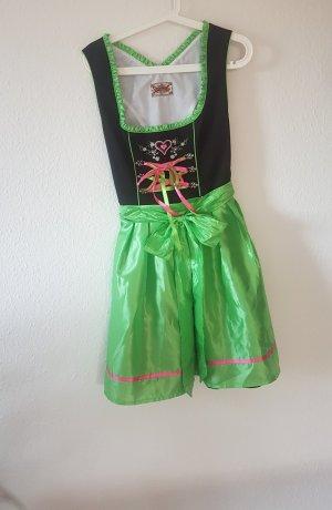 Mini Dirndl hellgrün-schwarz-pink