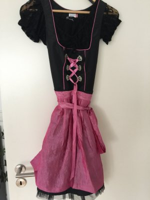 Mini-Dirndl pink/schwarz mit Bluse und Tuch 36