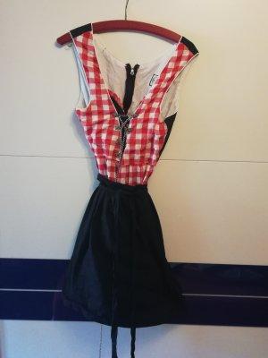 Alpentracht Vestido Dirndl negro-rojo
