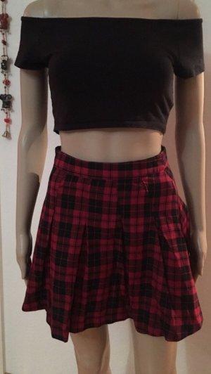 H&M Plaid Skirt black-dark red