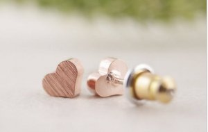 Mini Herz Ohrringe Stecker rosegold neu