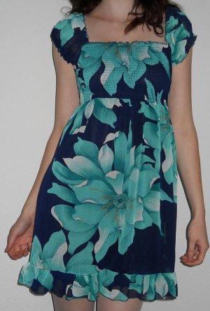 Mini Kleid Chiffon Carmen + Blumen Türkis Blau Weiß Gr. XS 34 NEU