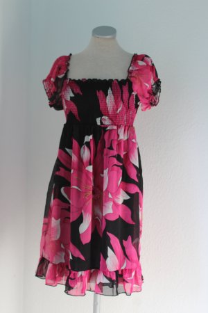 Mini Kleid Chiffon Carmenkleid Chiffonkleid Blumen Türkis Blau Weiß Gr. S 36 NEU