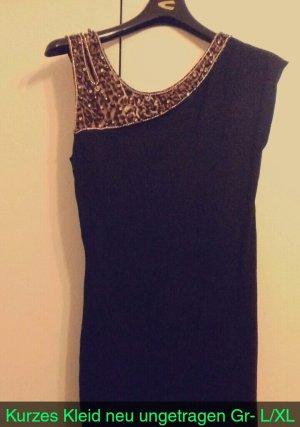 Mini Kleid - Dunkelblau/Leopardenmuster