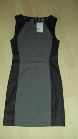 Mini Kleid grau schwarz Ledereinsatz