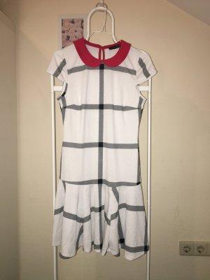 Mini Kleid kariert Schwarz Weiß rot
