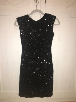 Mini Kleid (Pailetten) schwarz mit Rückenausschnitt