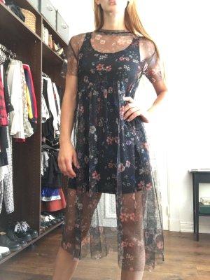 Mini Kleid Unterkleid schwarz transparent spitze durchsichtig Festival boho Blumen Muster zart Trend Sommer